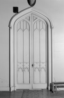 Skye, Armadale Castle. General view of hall door. Lancet-shaped with a tracery design.