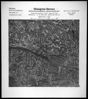 Scanned image of Luftwaffe vertical air photograph of the Govan area and north and south of the River Clyde, Glasgow