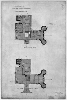 Scanned image of drawing showing ground and first floor plans with additions for M K Angelo.