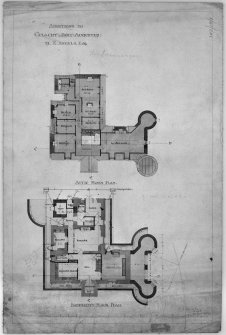 Scanned image of drawing showing basement and attic floor plans with additions for M K Angelo, Esq.