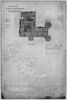 Scanned image of drawing showing roof plan with additions for M K Angelo, Esq.