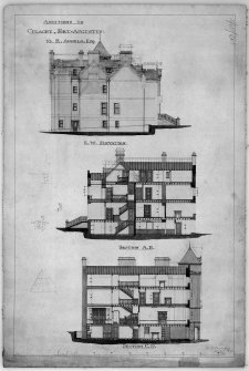 Scanned image of drawing showing elevation and sections with additions for M K Angelo.