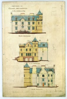 Scanned image of drawing showing front, back and NE elevations with additions for M K Angelo, Esq.