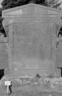 Digital copy of photograph of headstone commemorating John Darge, died 1833, his wife Catherine Watt, died 1838 and their grandson Peter Watt, died 1868. Survey no. 37