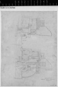 Scanned image of drawing showing part plans of ground floor and first floor at East end.