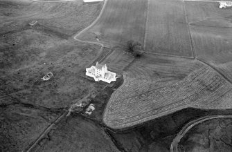 Oblique aerial view centred on Corgarff Castle, looking to the NNW.
