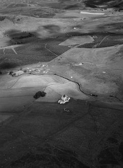 Oblique aerial view centred on Corgarff Castle, looking to the E.