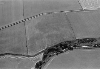 Oblique aerial view centred on the cropmarks of the enclosures, ring ditches and pits at Kirkton and Balmullie Mill, looking to the SE.