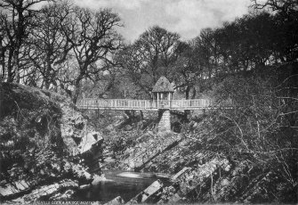 "Copy of historic photograph showing general view from S. Titled: 'Raehills Glen & Bridge, Moffat'. Copied from an album, ""Views of Moffat. Published by William Forrest. High Street, Moffat."", borrowed from Mr Maxwell-Irving."
