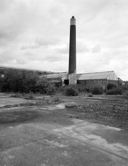Glasgow Museum of Transport. View of former boilerhouse and chimney from South.