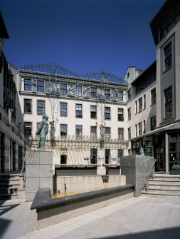 View of courtyard from SSW showing sculpture by Shona Kinloch 'Thinking of Bella' (1994)