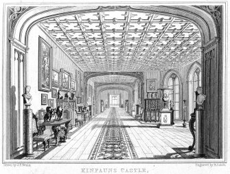 "Engraving showing interior view of gallery. Insc: ""Drawn by JP Neale. Kinfauns Castle, The Gallery, Perthshire. Engraved by R Sands."""