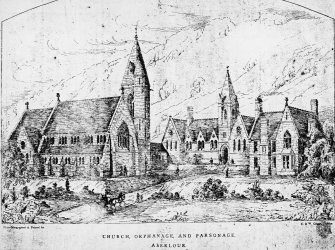 Digital copy of lithograph showing perspective of design for church.