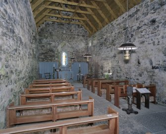 View from W of the interior of St Moulag's Church, Eoropie, Lewis .