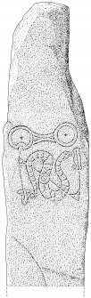 Scanned ink drawing of Newton House 1 Pictish symbol stone