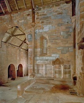 Interior. Chancel and baptistery aisle. View from N