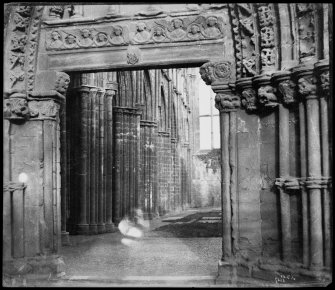 View of a section of the Great West Doorway, Holyrood Abbey.