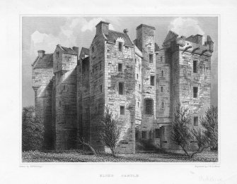 "Elcho Castle. Engraving showing general view. Insc: ""Drawn by R W Billings. Engraved by J H Le Keux. Elcho Castle"""