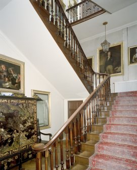 Interior.  Ground floor, main staircase, view from NE