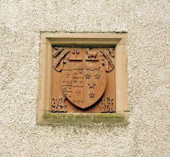 Leith Hall, exterior.  Courtyard: detail of armorial panel on West wall
