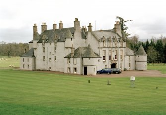 Leith Hall, exterior.  General view from the hill to North West