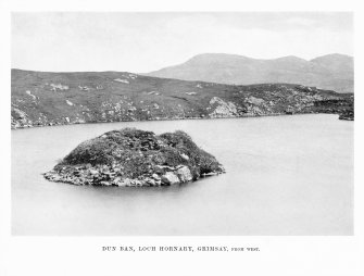 Grimsay, Dun Ban. General view of dun from west. Photograph copied from 'North Uist' by Erskine Beveridge.