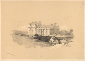 "View of Palace from South  Titled ""Falkland Castle""; ""D Roberts, R.A.""; ""A Durand, lith."" Published 1st February 1850, by E Gambart & Co, 25 Berners Street, Oxford Street, London"