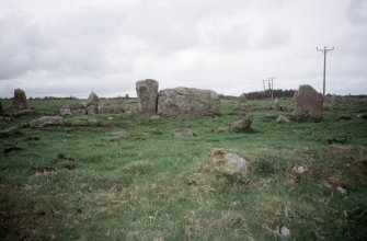 Copy of colour slide (H 93799) showing general view of recumbent stone circle.