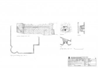 Craig House, Angus: Gatehouse elevation scale 1:100, profile of moulding at gate scale 1:2 and gunloop plan, section and elevation scale 1:20