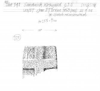 Drawing of a carved stone with cross detail. Sandwick Kirkyard, Unst.