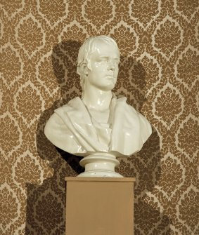 Interior. Auditorium, detail of bust of Robert Burns