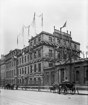25 Waterloo Place.  View of South Elevation Gas Commissioners offices decorated for coronation of King Edward VII.