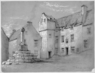 Perspective sketch of Culross Market Cross.