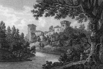 Engraving showing view of Bothwell Castle. Titled: 'Bothwell Castle'. 'London. Published 2 May 1803, by Cadell & Davies for Dr Cririe's Tour of Scotland'.