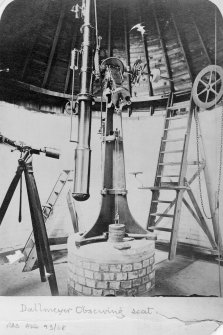 Ochtertyre Observatory, interior. View of Dallmeyer Observing Seat.