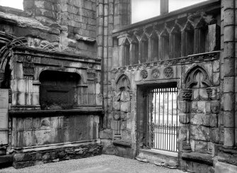 General view of North East corner of Nave at Holyrood Abbey, showing Abbot Crawford's screen and Countess of Eglinton's tomb Inv. fig. 288