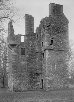 Greenknowe Tower, view from the SE. Scanned image of glass negative.