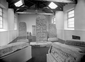Meigle Museum Pictish cross slabs and symbol stones.
