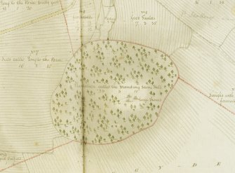 Detail of Ardlair recumbant stone circle taken from plan of the lands of Earlsfield and part of Ardler,  surveyed by George Brown, 1797.