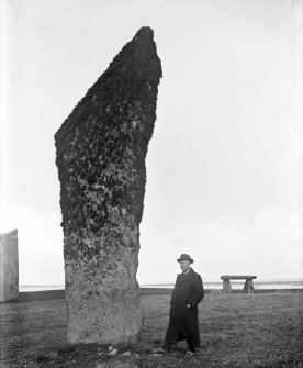 View of stone 2, Stones of Stenness, Orkney, in 1906.