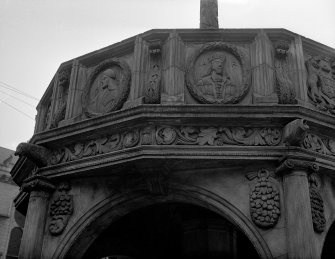 Aberdeen, Castle Street, Market Cross. Detail of Market Cross showing depictions of James I and II.