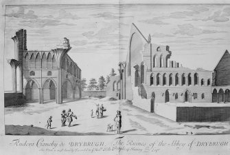 View of nave from W. Copy of engraving on glass