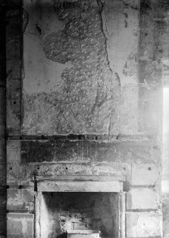 Interior. View of painted wall above fireplace.