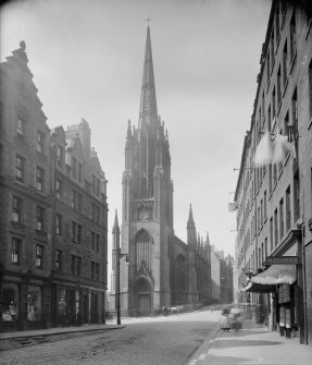 General view of Castlehill, Edinburgh. The church is now the site of the Hub Festival Centre.