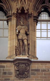 View of statue of James VI and I, fifth from left on eastern section of N facade.