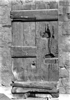 Detail of old wooden door in Holyrood Abbey