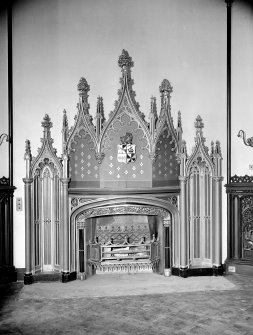 Taymouth Castle, interior. View of fireplace in Baron's dining room.