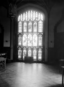Taymouth Castle, interior. View of stained glass windows in Baron's dining room.