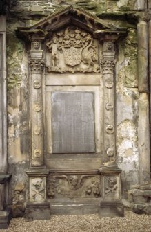 View of monument to George, 15th Earl of Sutherland, against inside of N wall of Holyrood Abbey..