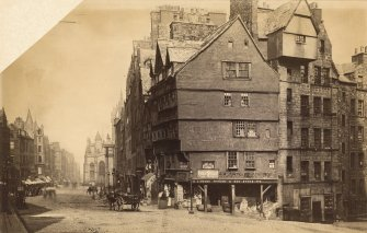 View of Lawnmarket at corner with West Bow, Edinburgh.